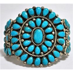 Old Pawn Turquoise Needlepoint Sterling Silver Cuff Bracelet - VB