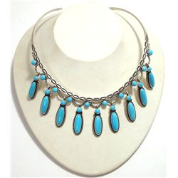 Navajo Turquoise Pendants Sterling Silver Collar Necklace - Herman Smith