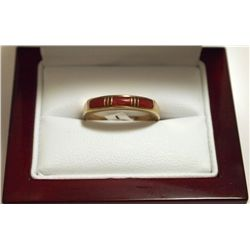 Dead Pawn Zuni Coral Inlay 14k Gold Women's Ring