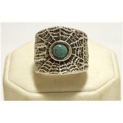 Navajo Turquoise Sterling Silver Tufacast Spider Web Men's Ring - Philander B Begay