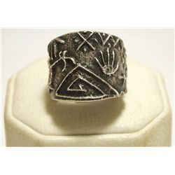 Navajo Sterling Silver Tufacast Multi-Design Men's Ring - Philander B Begay