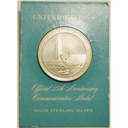 Sterling Silver United Nations Official 25th Anniversary Commemorative Medal