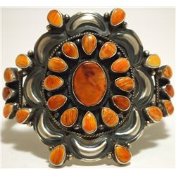 Navajo Orange Spiny Oyster Sterling Silver Cuff Bracelet - Dean Brown