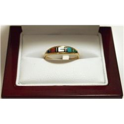 Dead Pawn Zuni Multi-Stone Inlay 14k Gold Women's Ring - H&M