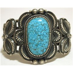 Navajo Spider Web Kingman Turquoise Sterling Silver Cuff Bracelet - Kirk Smith