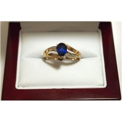 Dead Pawn Non-Native Blue Sapphire 10k Gold Women's Ring - AU