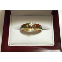 Dead Pawn Zuni Diamond Multi-Stone Inlay 14k Gold Women's Ring - K