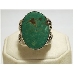 Navajo Candelaria Turquoise Sterling Silver Tufacast Hands Men's Ring  - Philander B Begay