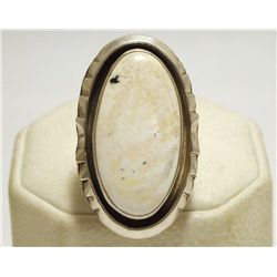 Old Pawn Navajo White Buffalo Sterling Silver Women's Ring  - WT Johnson