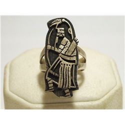 Old Pawn Hopi Sterling Silver Kachina Women's Ring  - Spider Stamp Signature
