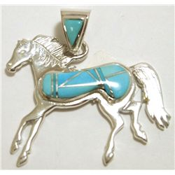 Navajo Turquoise Sterling Silver Horse Pendant - Calvin Begay