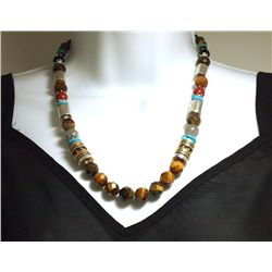 Navajo Tiger's Eye & Multi-Stone Necklace - Tommy Singer