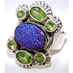Silver and Peridot & Titanium Drusy Ring