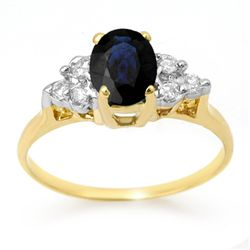 Genuine 1.41ctw Sapphire & Diamond Ring 14K Yellow Gold
