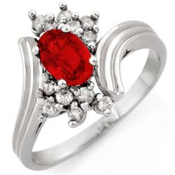Genuine 1.0 ctw Red Sapphire & Diamond Ring 10K Gold