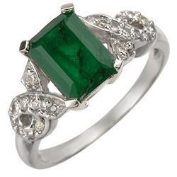 Genuine 2.25 ctw Emerald & Diamond Ring 10K White Gold