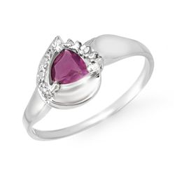 Genuine 0.42 ctw Amethyst & Diamond Ring 10K White Gold