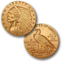 $2.5 Indian Gold - Quarter Eagles - 1908 to 1929 - Random date