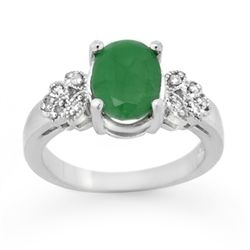 Genuine 3.35 ctw Emerald & Diamond Ring 14K White Gold