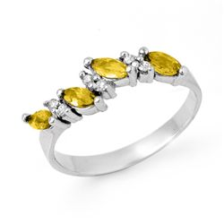 Genuine 1.02 ctw Yellow Sapphire & Diamond Ring 14k Gold