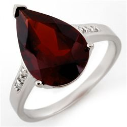 Genuine 5.1 ctw Garnet & Diamond Ring 10K White Gold