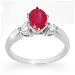 Genuine 1.45 ctw Ruby & Diamond Ring 14K White Gold