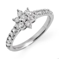 Natural 0.68 ctw Diamond Ring 10K White Gold