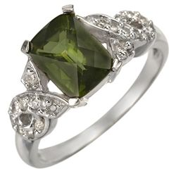 Genuine 1.75ct Green Tourmaline & Diamond Ring 10K Gold