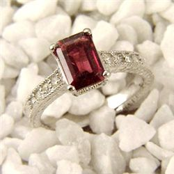 Genuine 2.25ctw Rubellite & Diamond Ring 14K White Gold