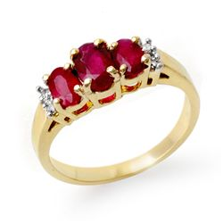 Genuine 1.18 ctw Ruby & Diamond Ring 14K Yellow Gold