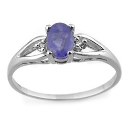 Genuine 0.77ct Tanzanite & Diamond Ring 10K White Gold
