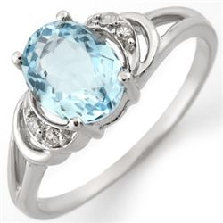 Genuine 1.56 ctw Aquamarine & Diamond Ring 10K Gold
