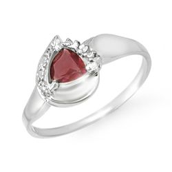 Genuine 0.60 ctw Garnet & Diamond Ring 10K White Gold