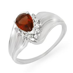 Genuine 0.76 ctw Garnet & Diamond Ring 10K White Gold