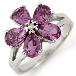 Genuine 2.52ctw Amethyst & Diamond Ring 10K White Gold