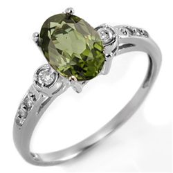 Genuine 1.45ctw Green Tourmaline & Diamond Ring Gold