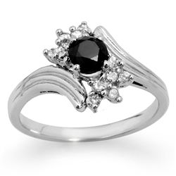 Natural 0.75 ctw White & Black Diamond Ring 10K Gold