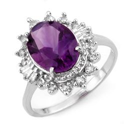 Genuine 3.45 ctw Amethyst & Diamond Ring 10K White Gold