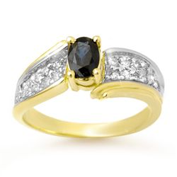 Genuine 1.40 ctw Sapphire & Diamond Ring Yellow Gold