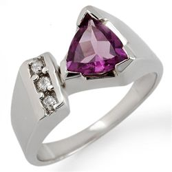Genuine 1.0 ctw Amethyst & Diamond Ring 10K White Gold