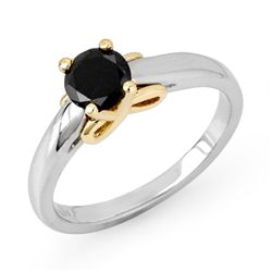 Natural 0.55 ctw Black Diamond Ring 14K Multi tone Gold