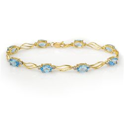 Genuine 8.02 ctw Blue Topaz & Diamond Bracelet 10K Gold