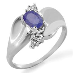 Genuine 0.54 ctw Tanzanite & Diamond Ring 10K Gold