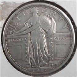 1917 TYPE 1 STANDING LIBERTY QUARTER XF+