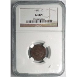 1877  Indian penny  NGC04BN   Est $575-$600