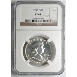 1953 proof Franklin half $  NGC62  est  $70-$75