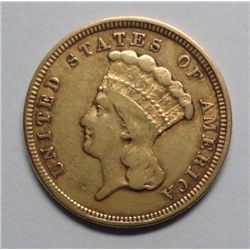 1854 $3 gold, VF/XF attractive original patina