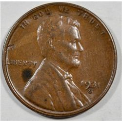 1931S   Lincoln penny  BU  BRN nice lusterous surface