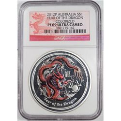 2012P  Australia year of dragon colorized  NGC PF69 UC