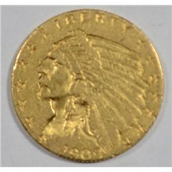 1909 $2 1/2  Gold  Indian  XF